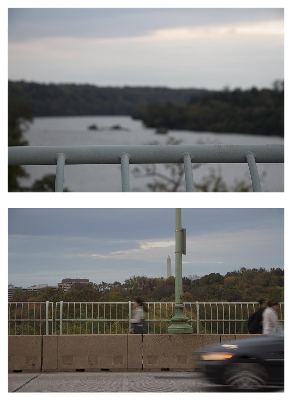 "Streams Key Bridge , Upstream - Downstream, Potomac River Composites, 26 x 19"""
