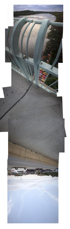 "Streams Key Bridge , vertical flipped panorama, 9-25-2012. Archival digital print, 90"" x 24"""