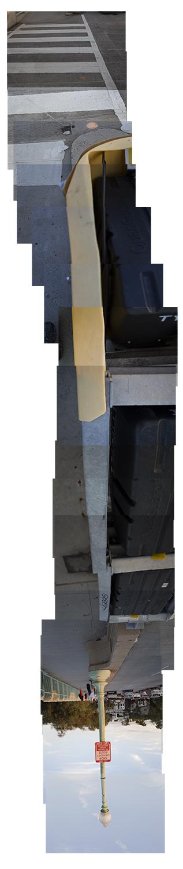 "Streams Key Bridge , vertical flipped panorama, 9-20-2012. Archival digital print, 90"" x 24"""