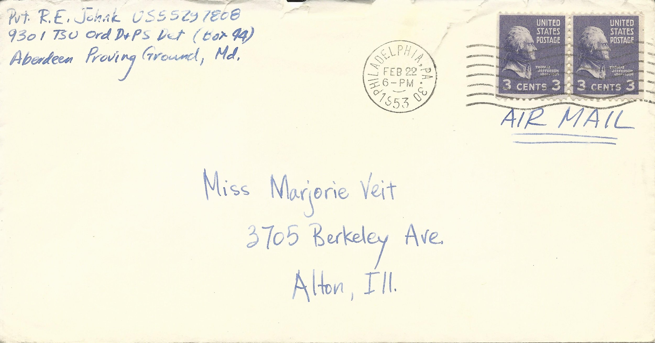 Feb. 21, 1953 (Bob) Envelope