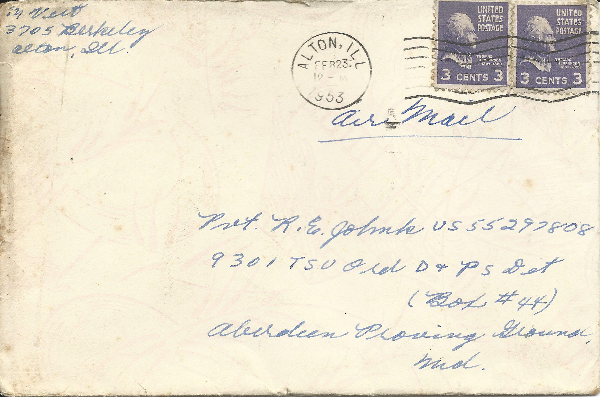 Feb. 22, 1953 (Marj) Envelope