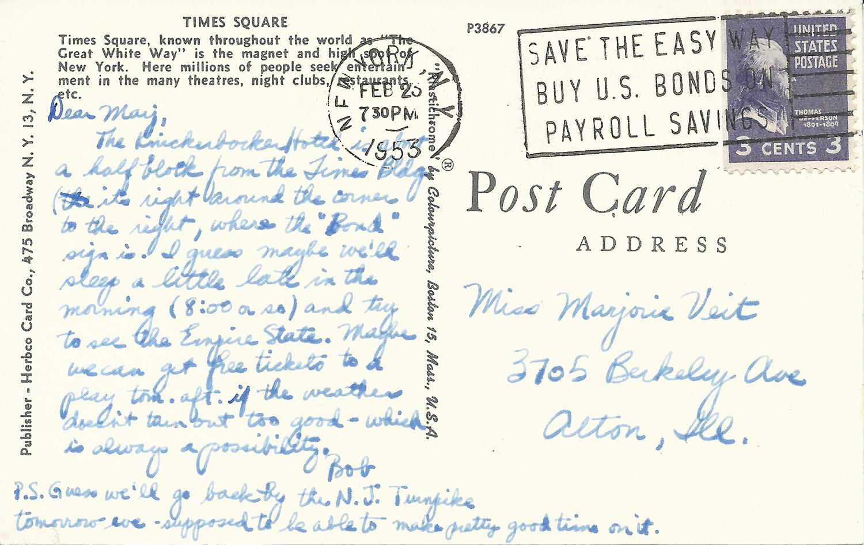 Feb. 23, 1953 (Bob), NYC Postcard Back