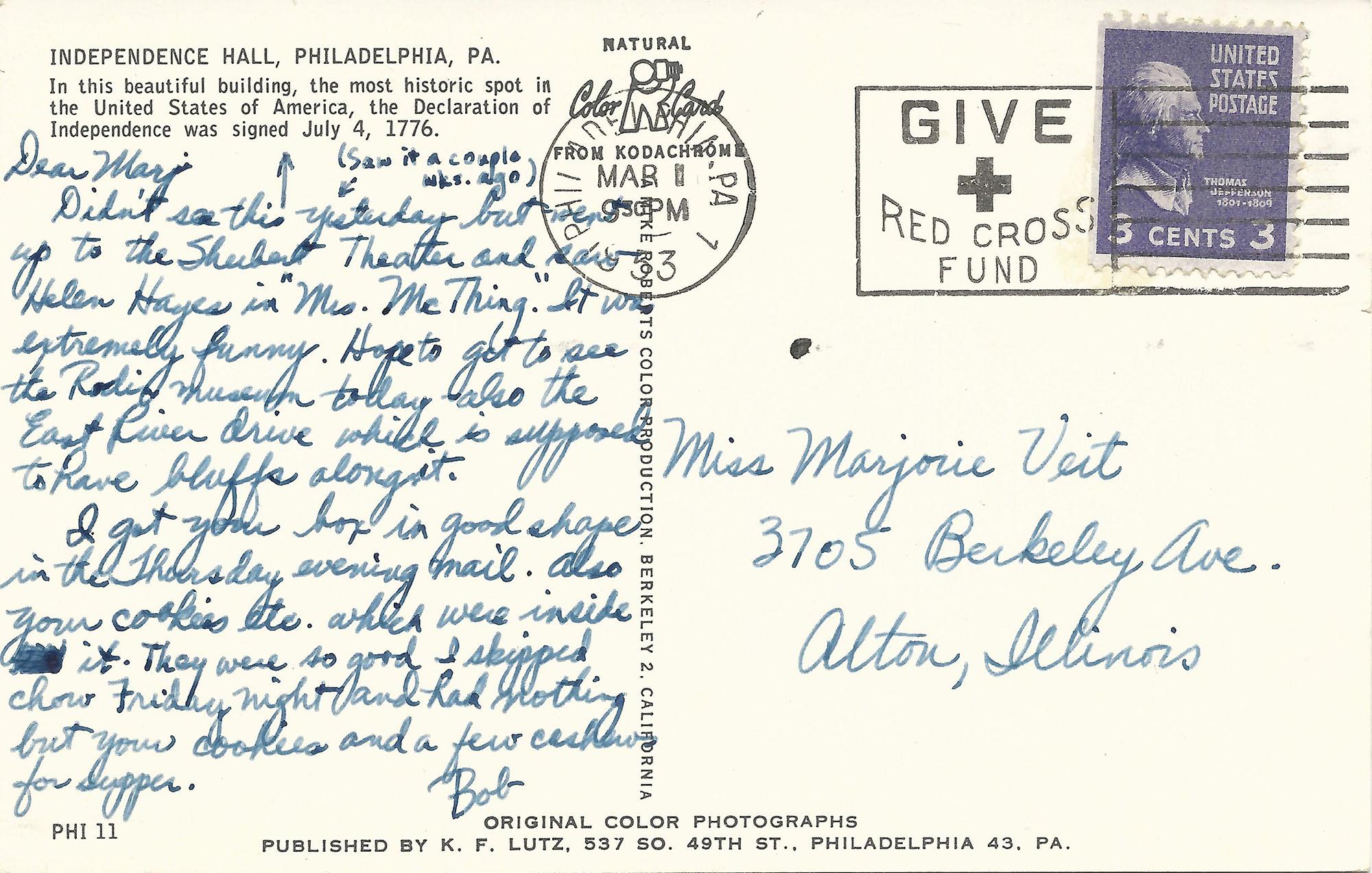 Philadelphia Postcard Back