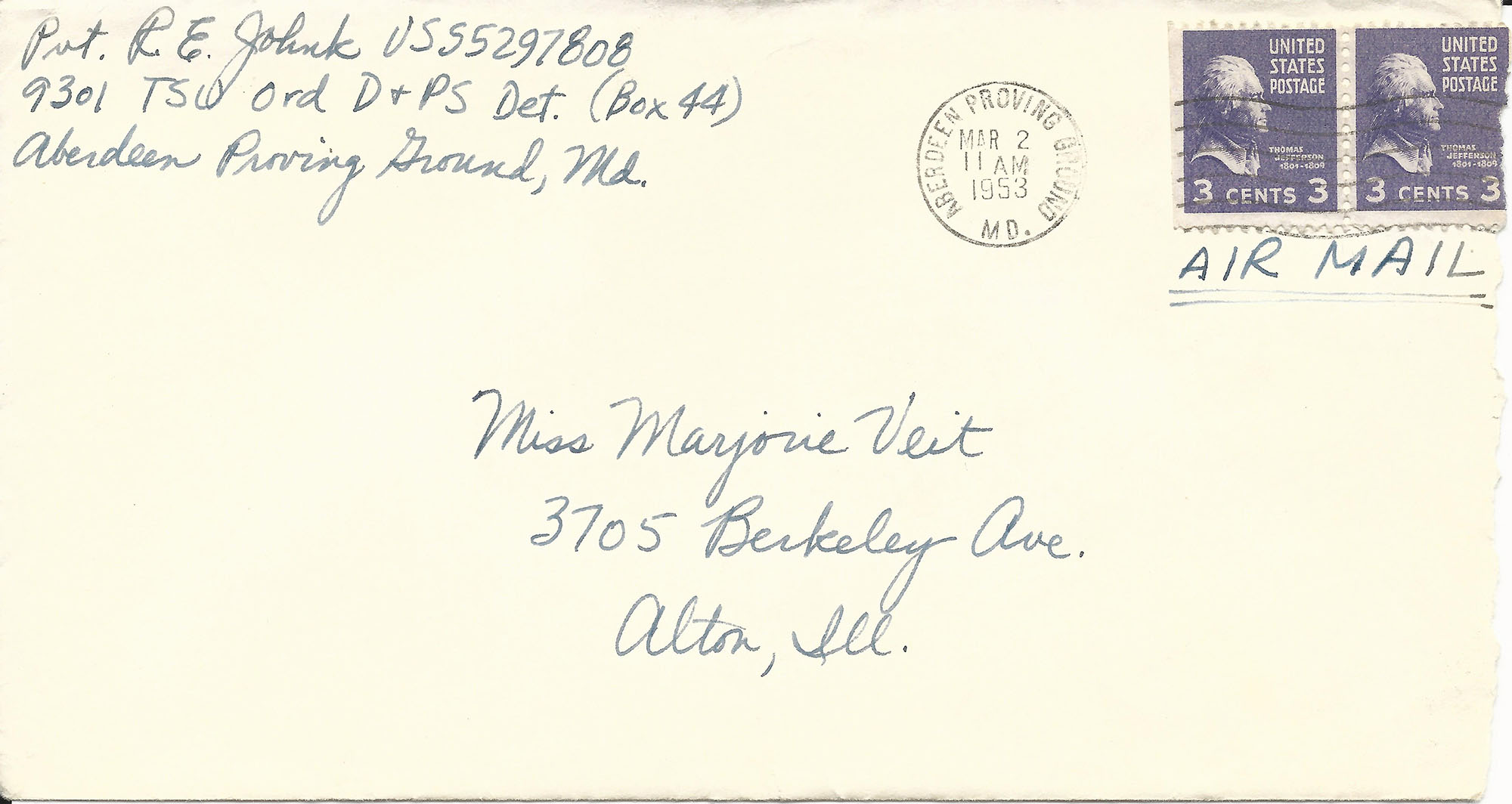 Mar. 1, 1953 (Bob) Envelope