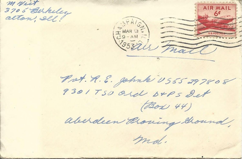Mar. 8, 1953 (Marj) Envelope