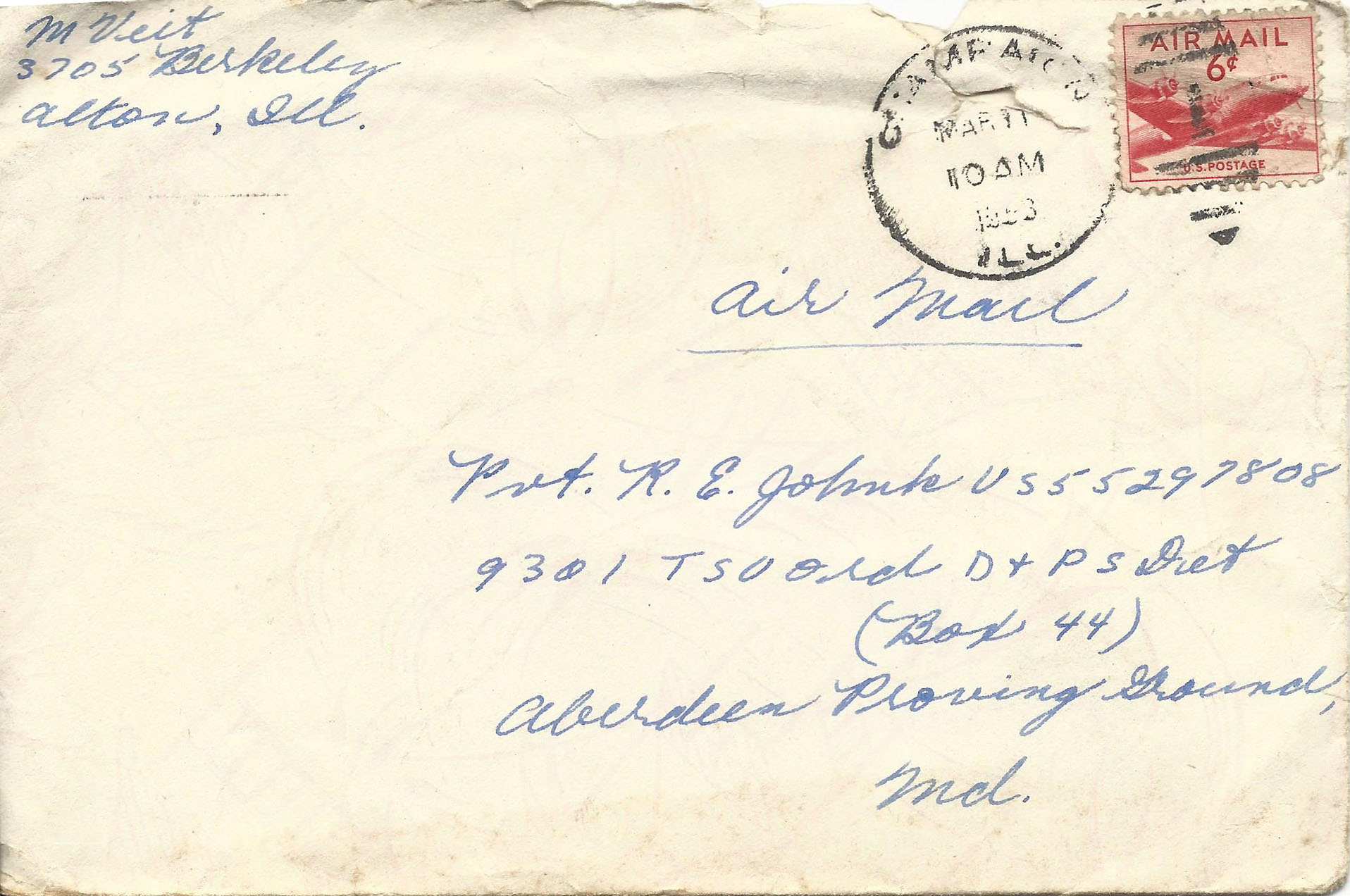Mar. 10, 1953 (Marj) Envelope