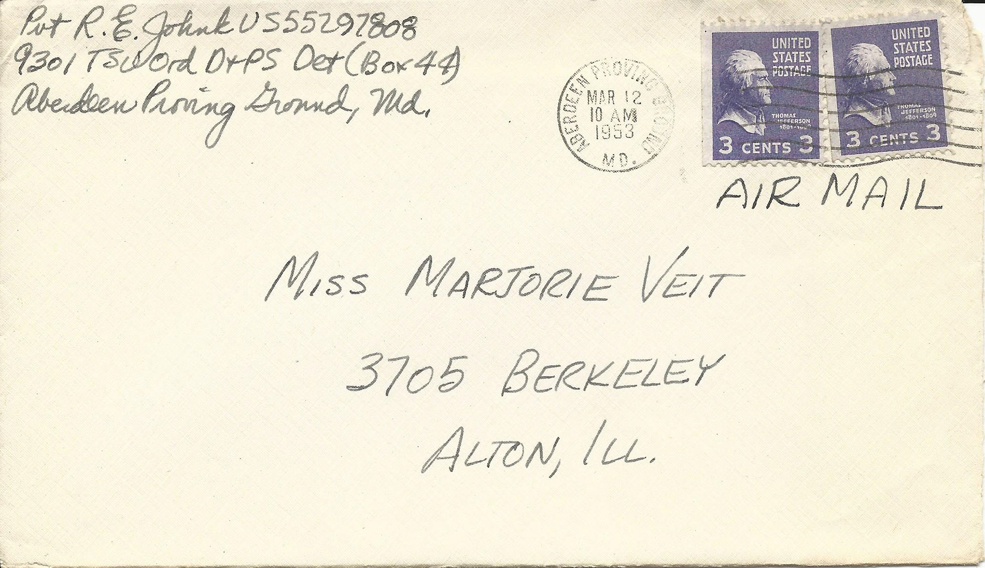 Mar. 11, 1953 (Bob) Envelope
