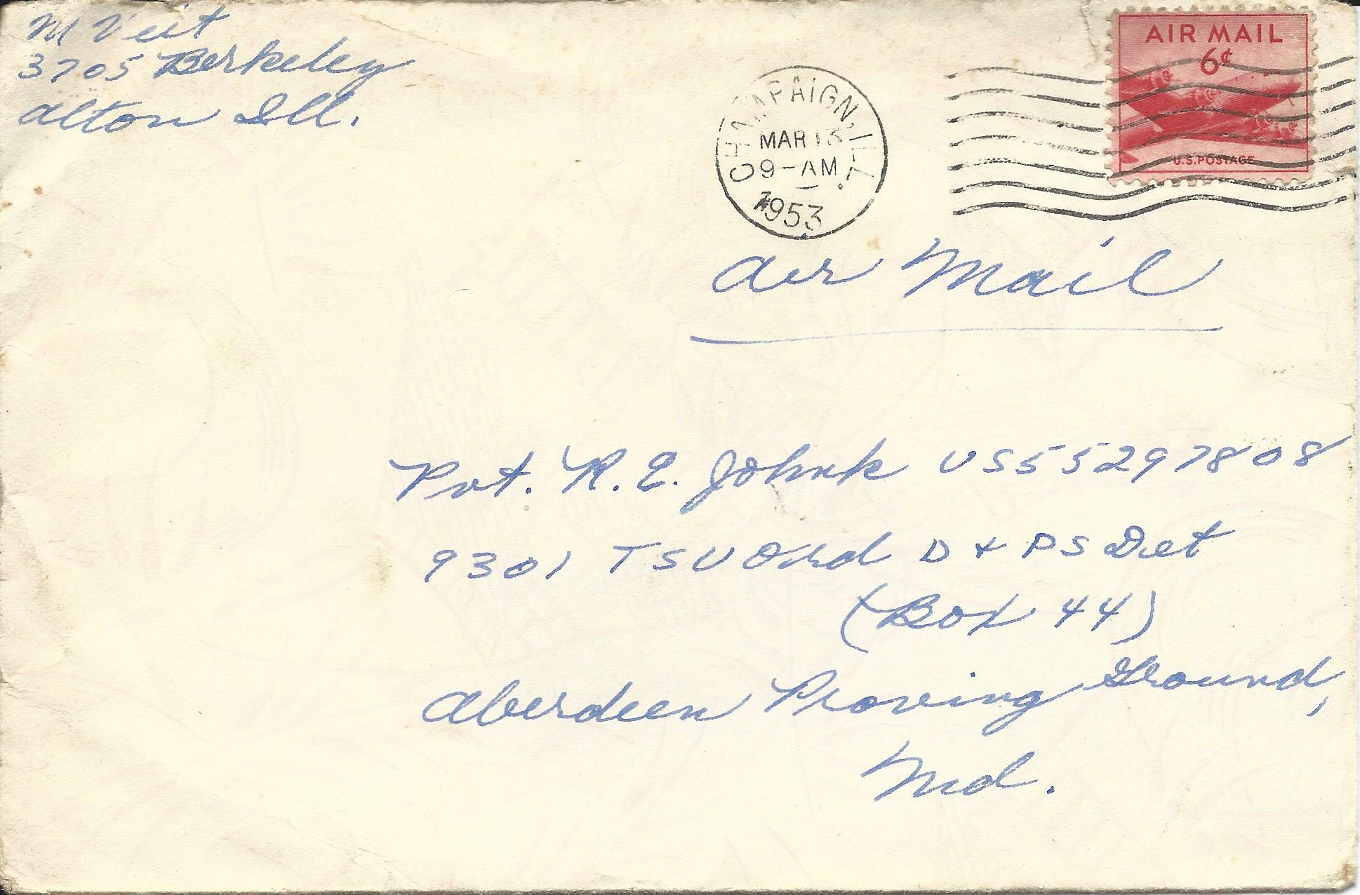 Mar. 12, 1953 (Marj) Envelope