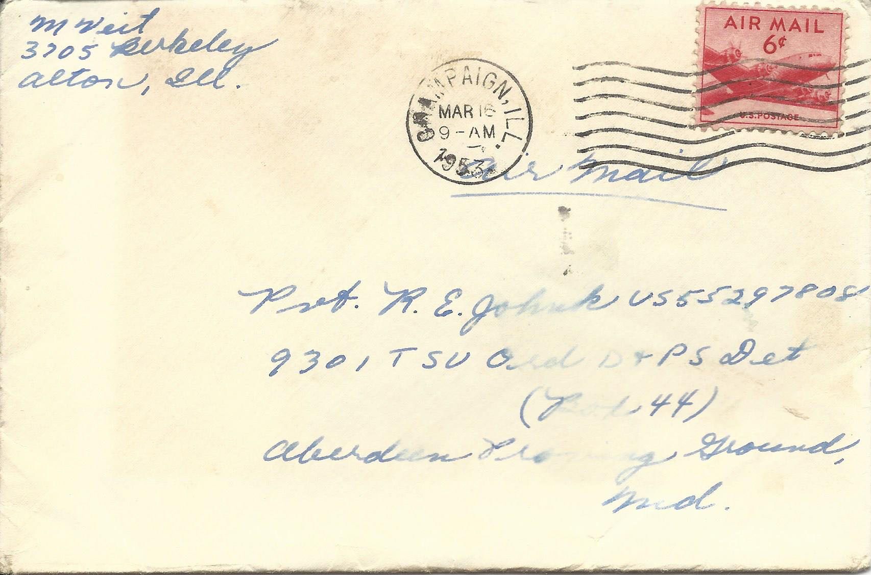 Mar. 14, 1953 (Marj) Envelope