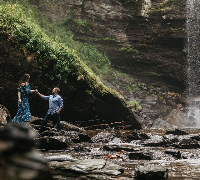 Do big, crazy things.  Have scary dreams.  Go on that adventure.  Tell your love story under a waterfall 🌊💕 . #scphotographer #engagementshoot