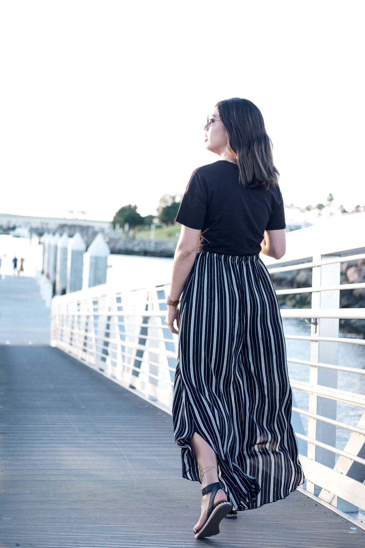 Rachel Off Duty: Striped Wide-Legged Pants