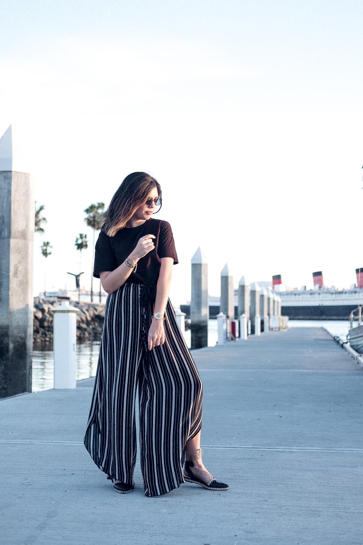 Rachel Off Duty: Wide-Legged Pants and Crop Top