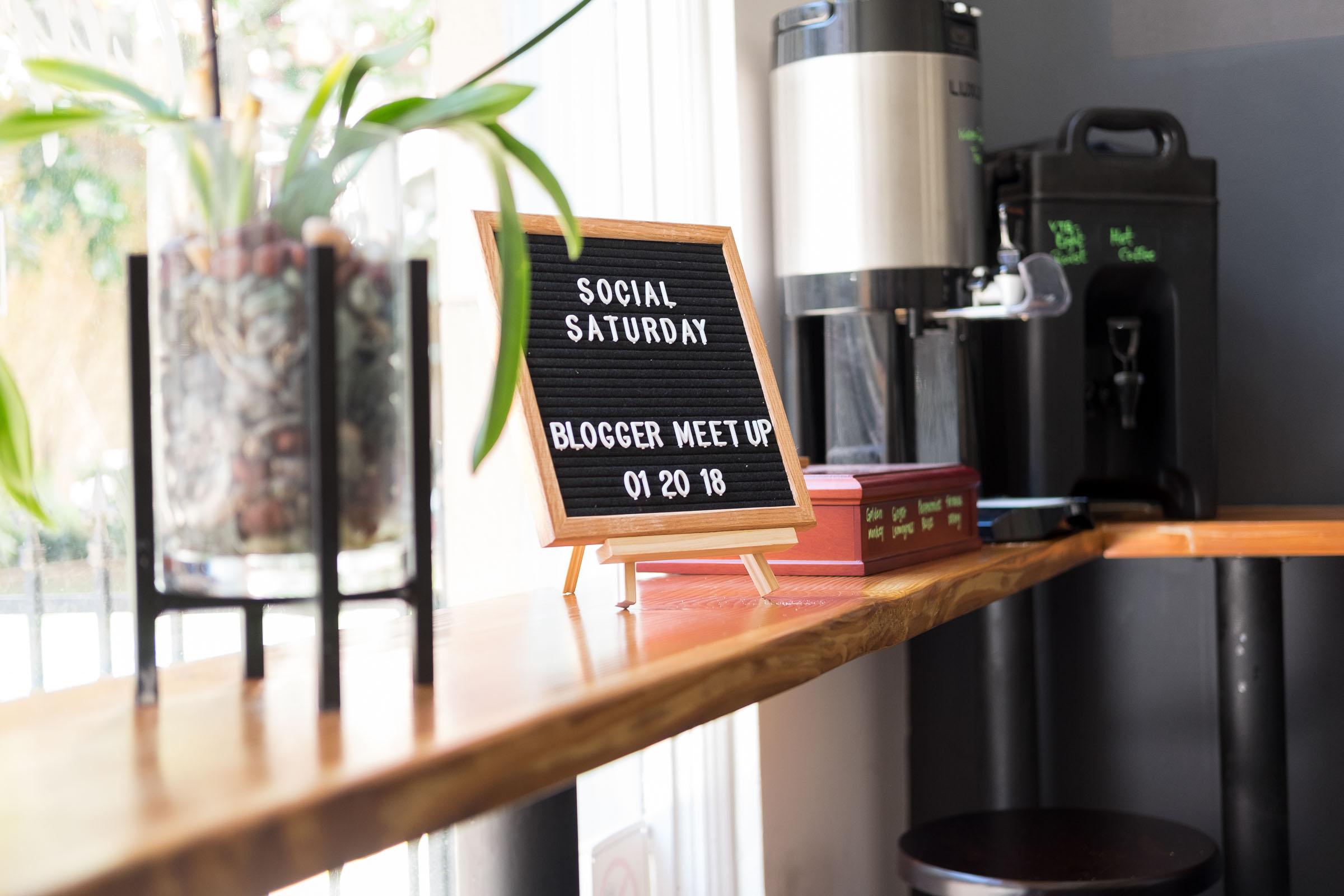 Rachel Off Duty: Social Saturday Meetup Sign