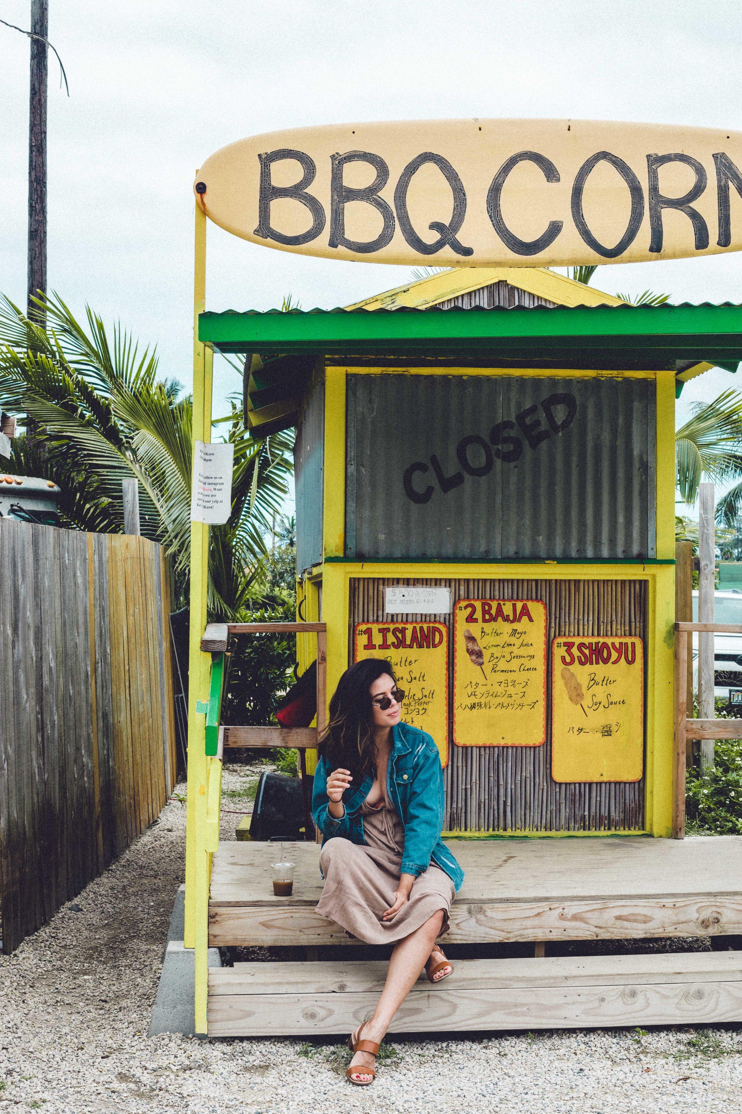 Rachel Off Duty: Rachel Sitting Outside a Store in North Shore Oahu