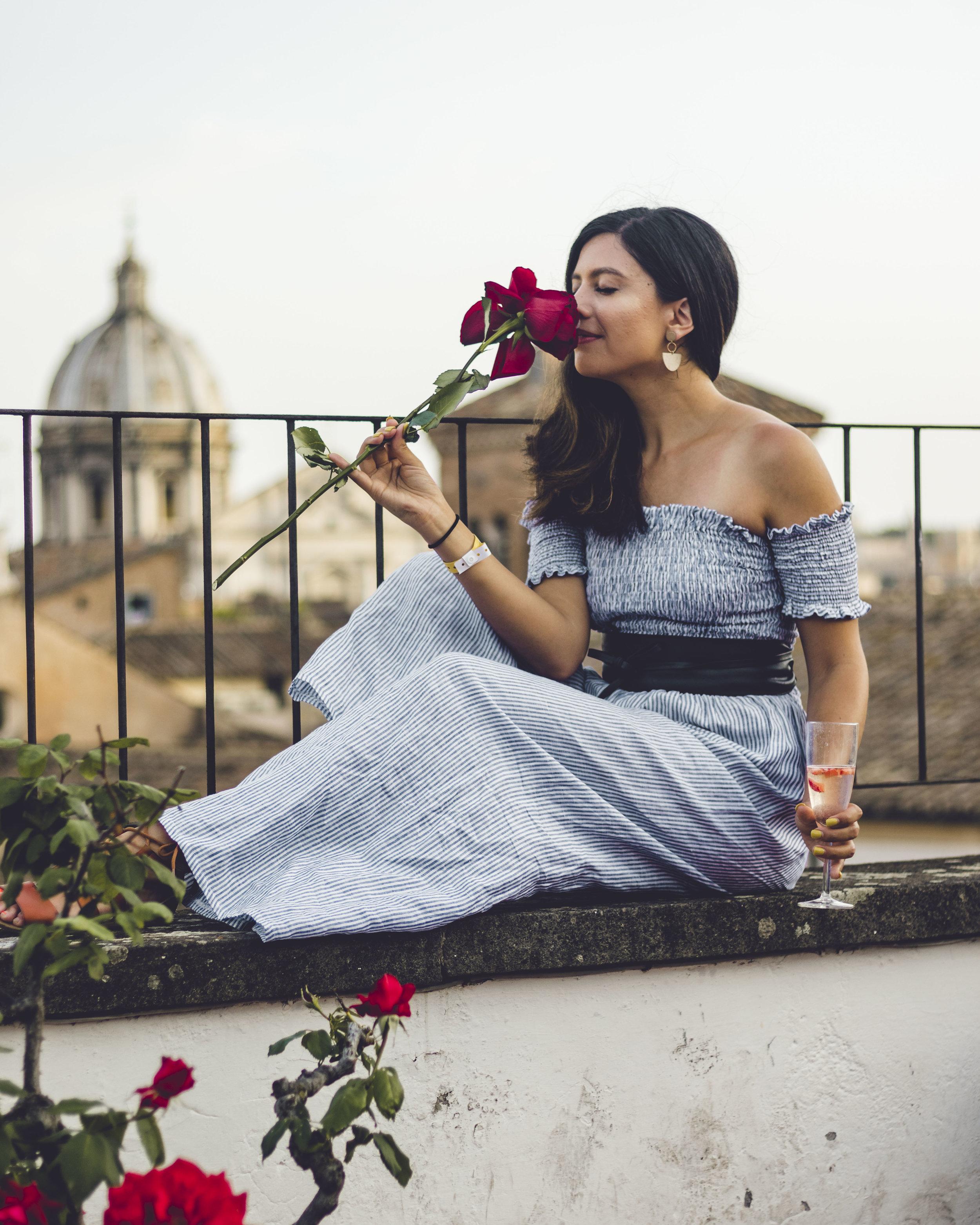 Rachel Off Duty: Woman Smelling Roses