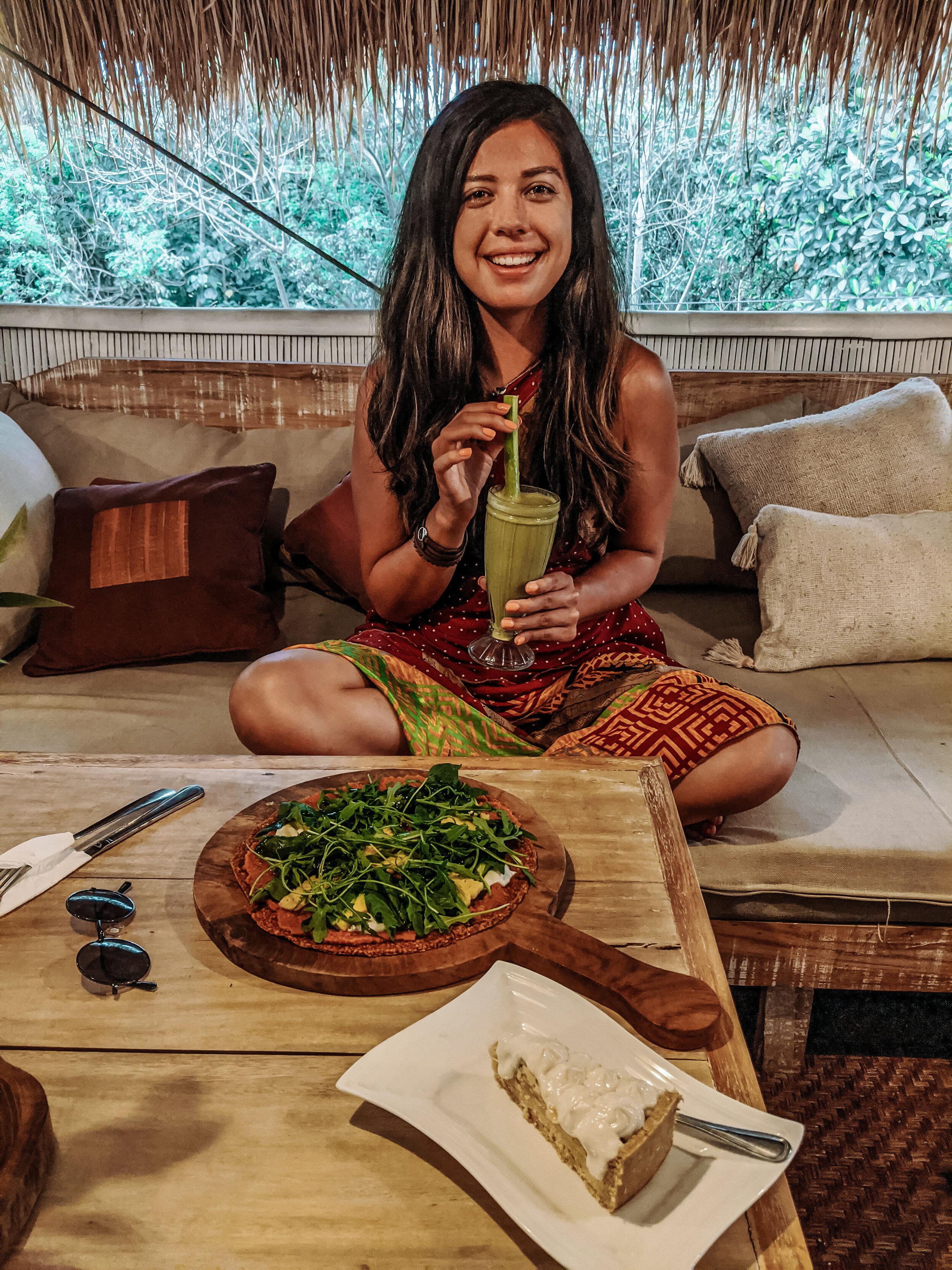 Rachel Off Duty: Woman Drinking Green Juice in Bali
