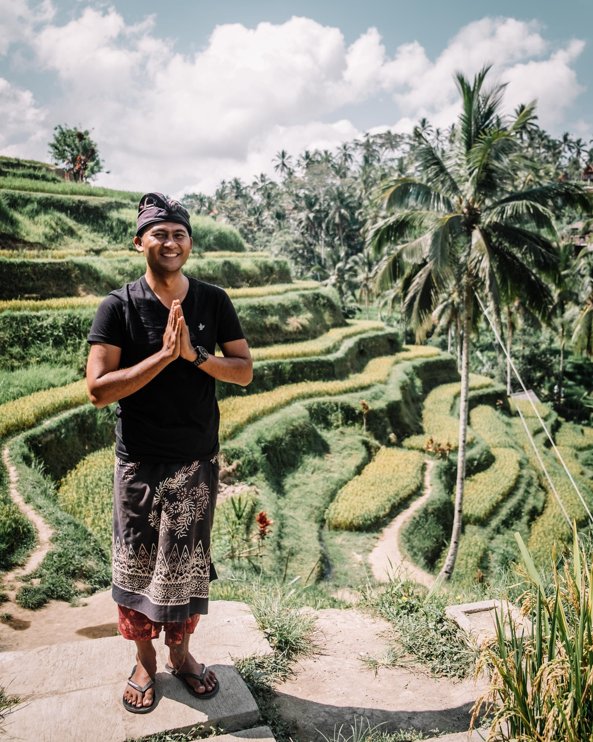 Rachel Off Duty: Local Balinese Man in Rice Terraces in Bali