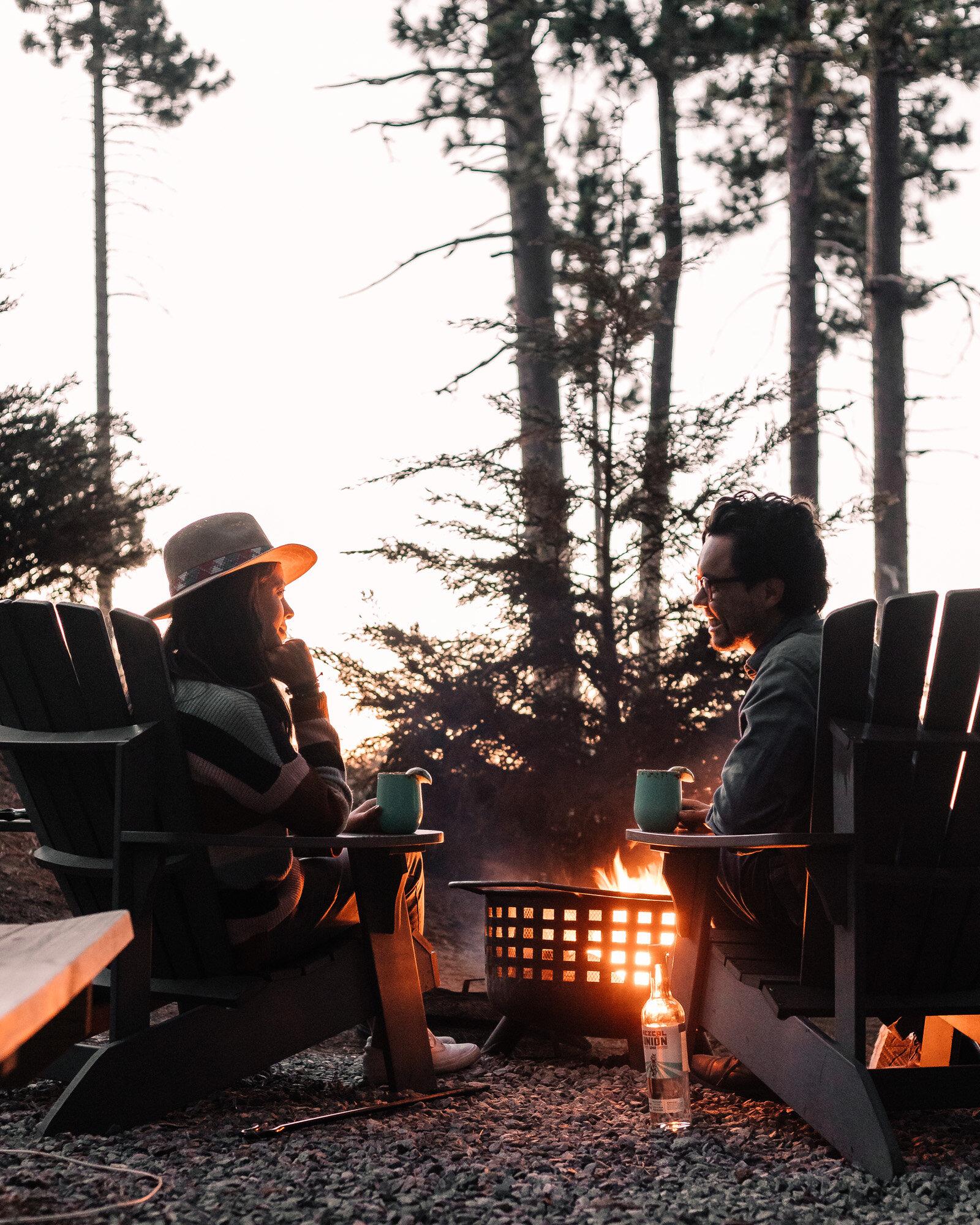 Rachel Off Duty: Couple Enjoying a Campfire at Dusk