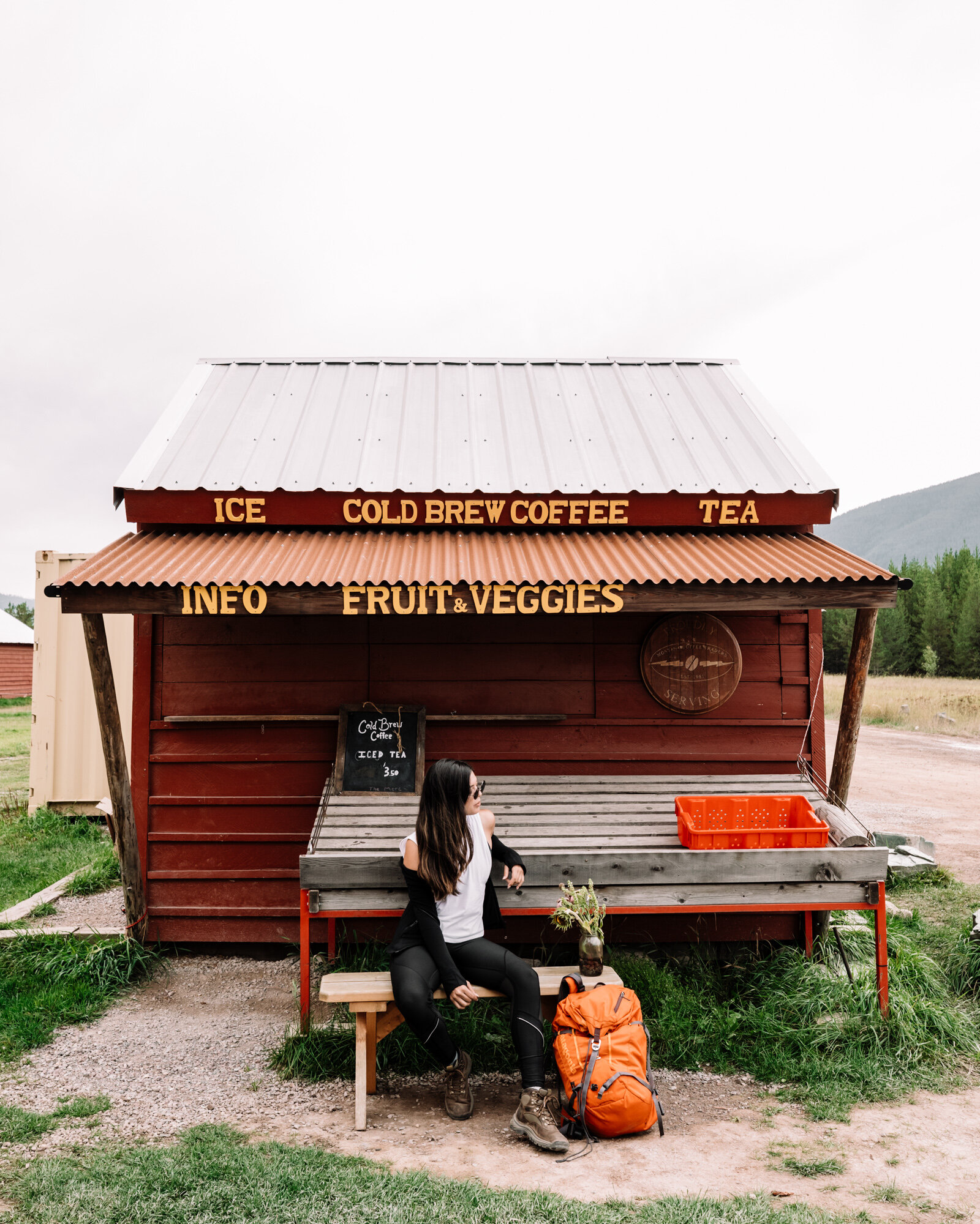 Rachel Off Duty: Woman Outside a Cafe in Glacier National Park, Montana