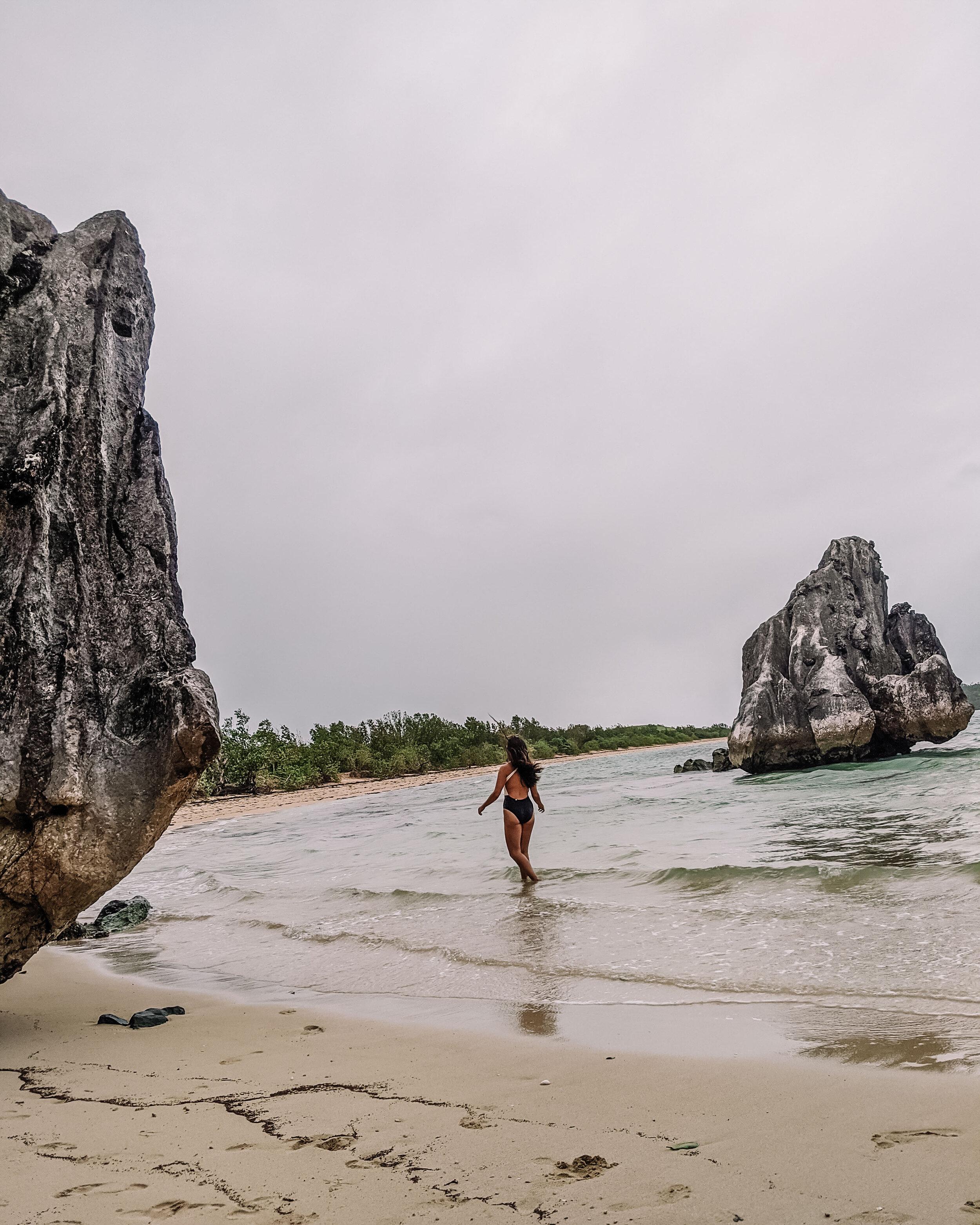 Rachel Off Duty: Woman Walking on a Beach in Caramoan, Philippines