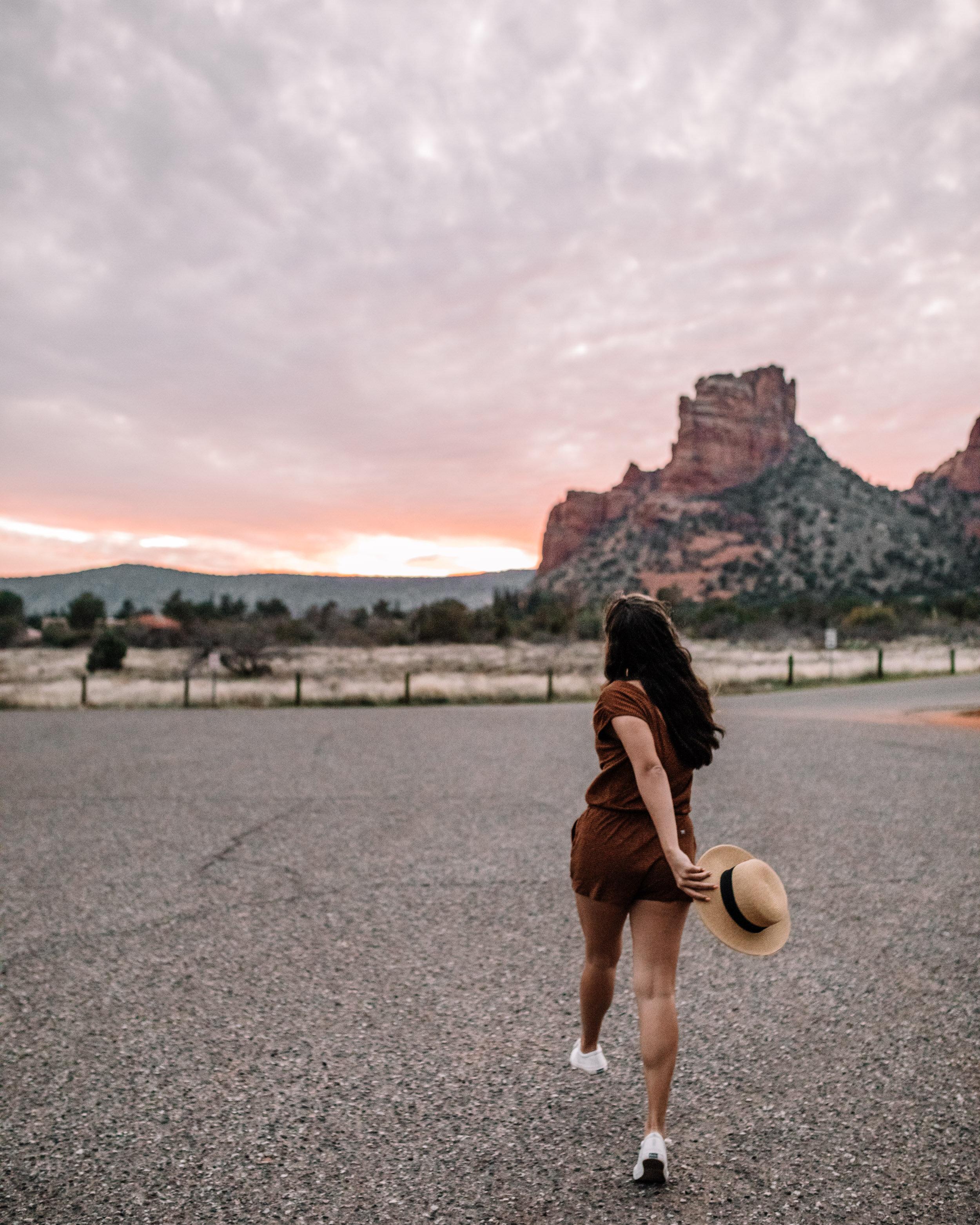 Rachel Off Duty: Woman Skipping on the Road in Sedona, Arizona