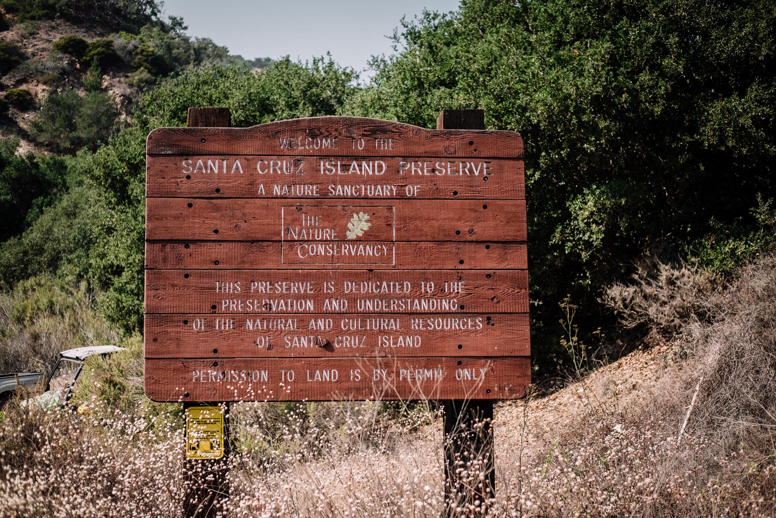 Rachel Off Duty: Sign at Santa Cruz Island, Channel Islands