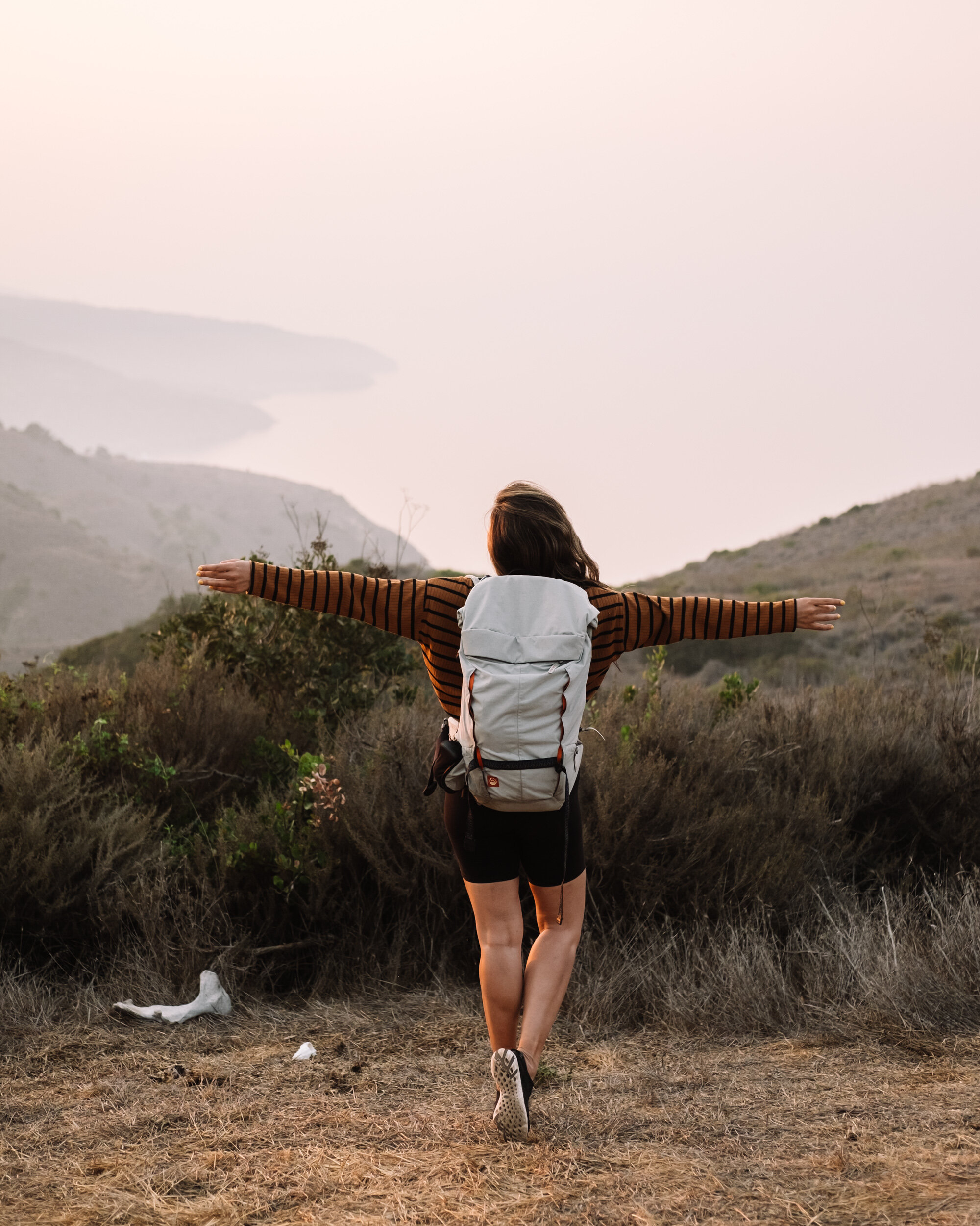 Rachel Off Duty: Girl with Backpack Admiring View in Channel Islands National Park