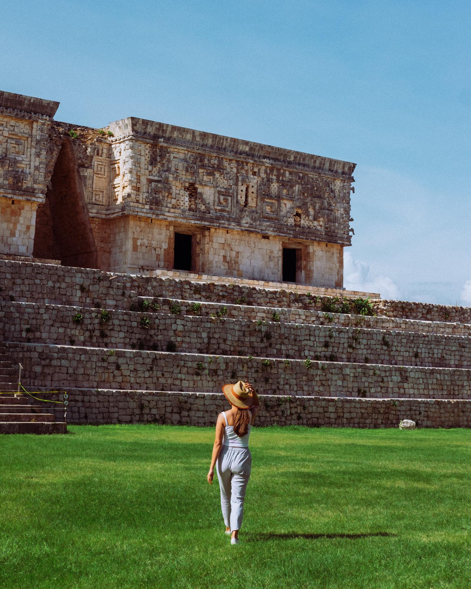 Rachel Off Duty: Woman Exploring the Ruins at Uxmal, Mexico
