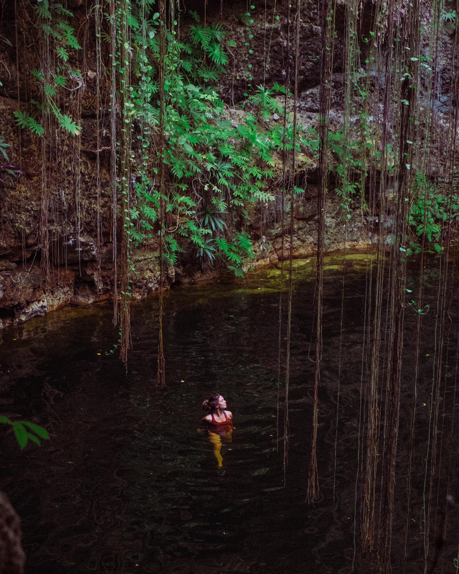 Rachel Off Duty: A Woman Swimming in a Cenote