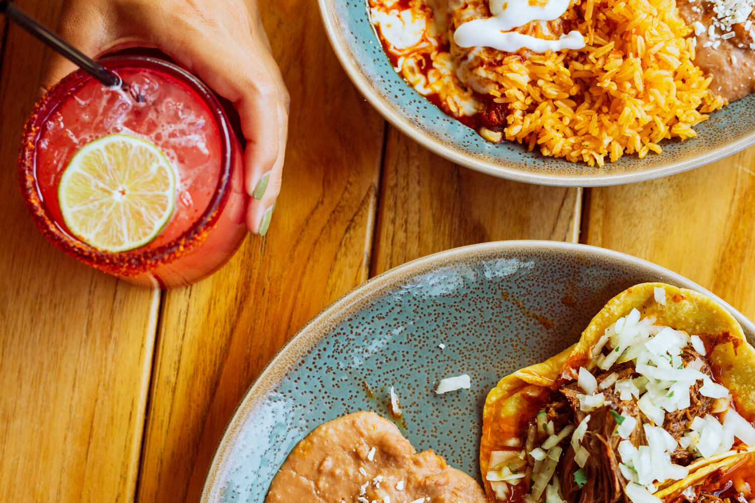 Rachel Off Duty: A Close-Up of Tacos, Rice, and a Watermelon Margarita