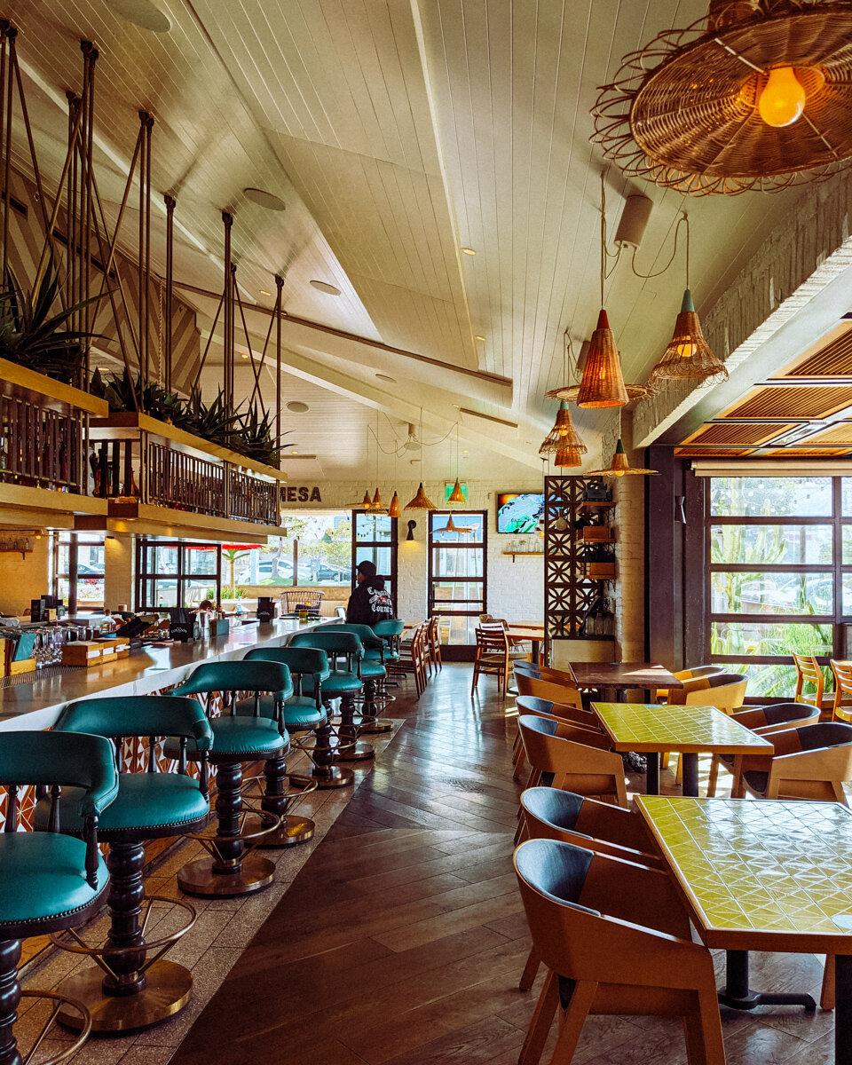 Rachel Off Duty: A Well-Lit Restaurant with Blue Bar Seats in Costa Mesa Called Playa Mesa