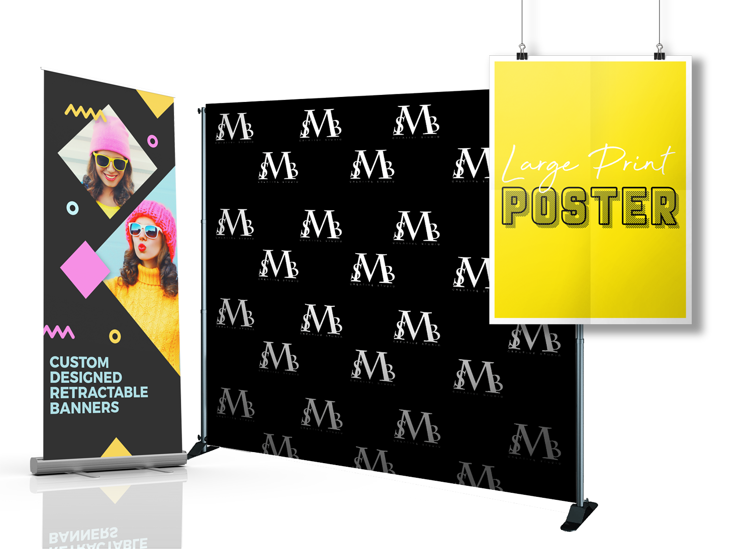 promotional print. posters. vinyl banner, step and repeat, retractable banner