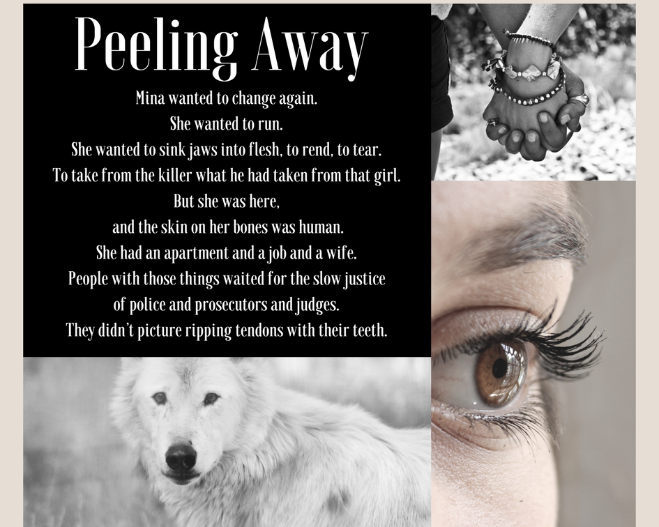 A mood board featuring images of a wolf, a woman's face, and clasped hands.