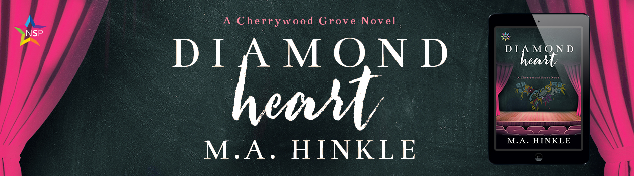 A banner image featuring the cover art of Diamond Heart by M.A. Hinkle, a stage curtain pulling back to reveal a graffiti heart.