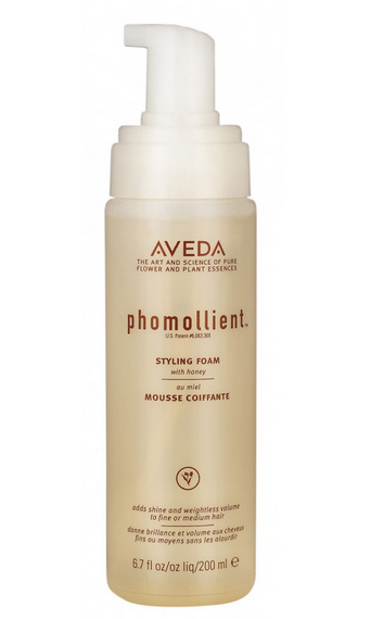 3.) Phomollient     Air-infused technology transforms a liquid into foam without hydrocarbon propellants. Phomollient styling foam creates weightless body and volume on fine to medium hair. Apply 3 to 5 pumps (don't shake) to damp hair and style as usual. Try blow drying with an Aveda paddle brush to create silky-smooth hair with lustrous shine.