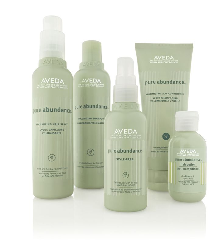 1. Pure Abundance        Aveda's Pure Abundance collection uses kaolin clay and acacia gum as natural bulking agents for weightless body and volume. The pre-style treatment and hairspray give you all-day hold, volume and the look of abundant hair.