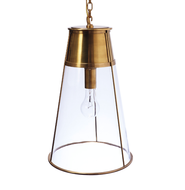 This pendant  from Serena & Lilly is so unique. It incorporates clean lines with a classic look and won't get in the way of any sight lines in an open concept space. This is also a great pendant if you want to introduce a mixture of metals in the kitchen or to add an industrial glam look in any powder room.