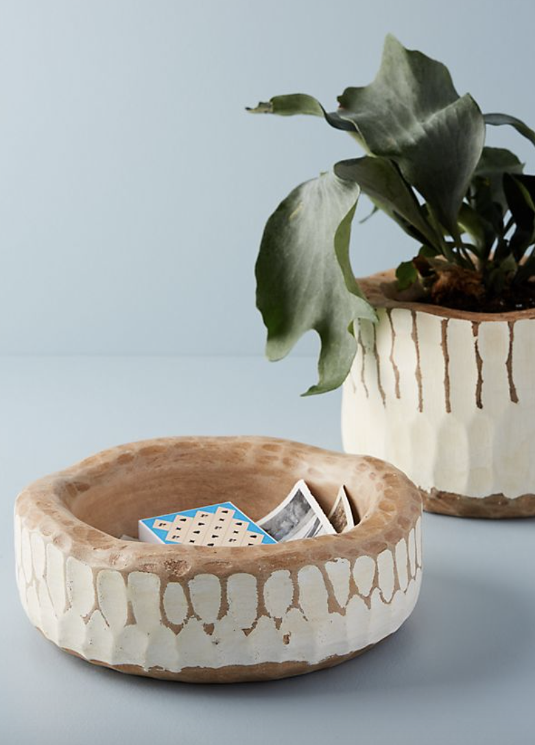 Every space needs a little black, a little white, and a little wood!  These bowls  make the perfect catch-all for any entry! I'll take two!