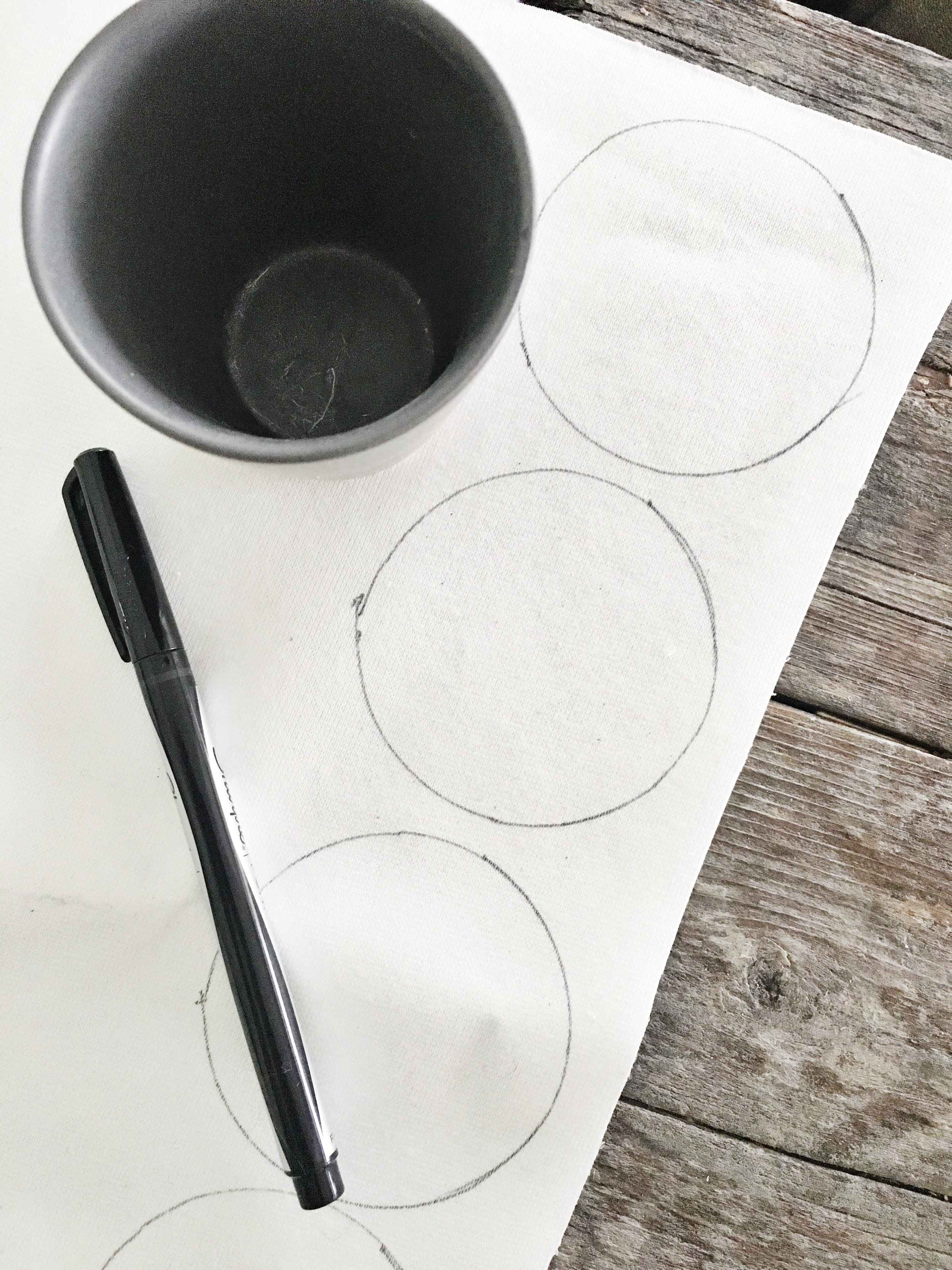 STEP ONE - Using your round object, trace out multiple circles on the back side of your pleather. I ended up needing 28 circles (approx. 2
