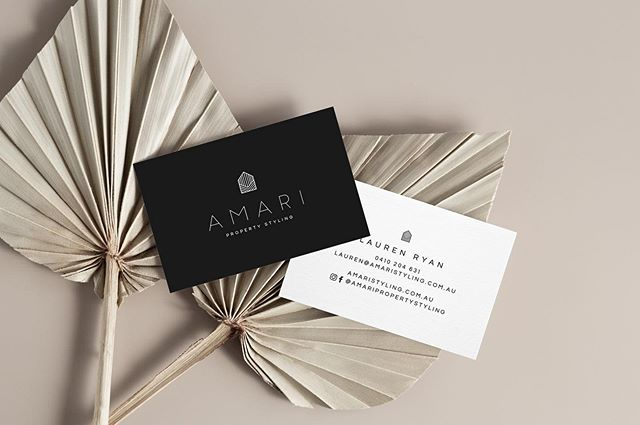 Fresh biz cards (and dead palm fronds) for the lovely Lauren of @amaripropertystyling ❤️