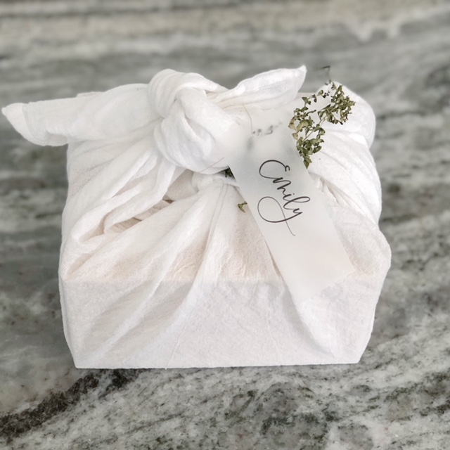 Cloth Wrapped Gift with vellum name tag.JPG