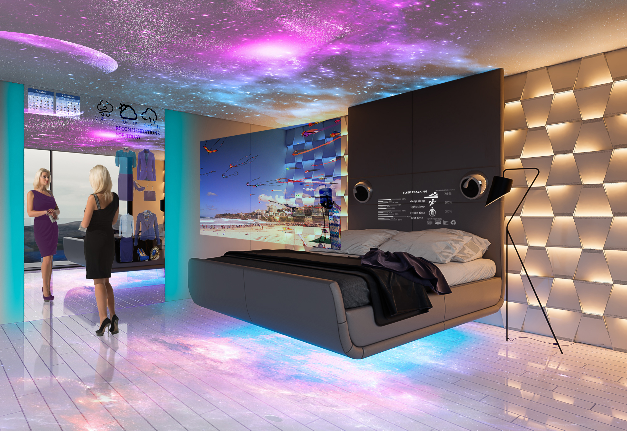 The bedroom of the future with transparent screens, digital walls and smart wardrobes. Photo Credit: NSSTUDIO.