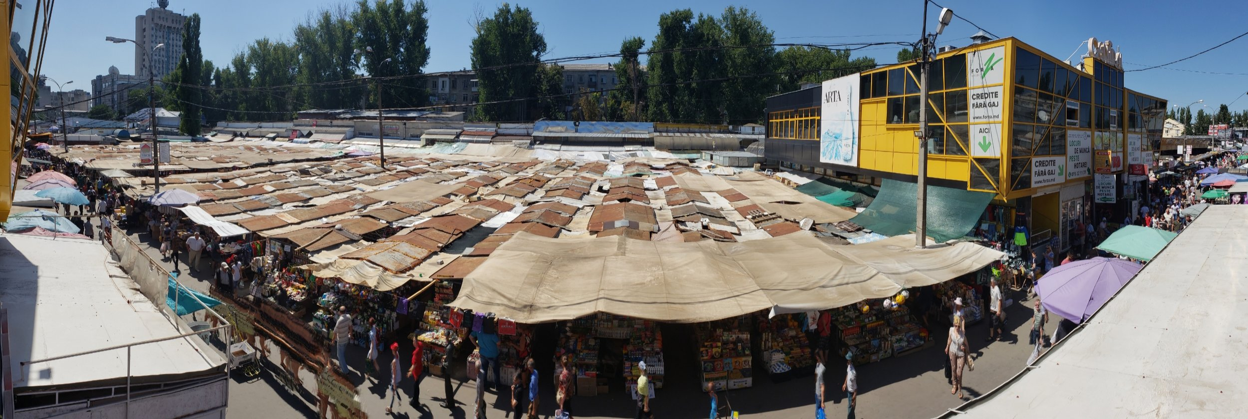 """Above is a picture of the local """"open-air market"""" in the heart of Chisinau. Groceries, household items, fruits, veggies, and freshly chopped raw meat can be found here."""
