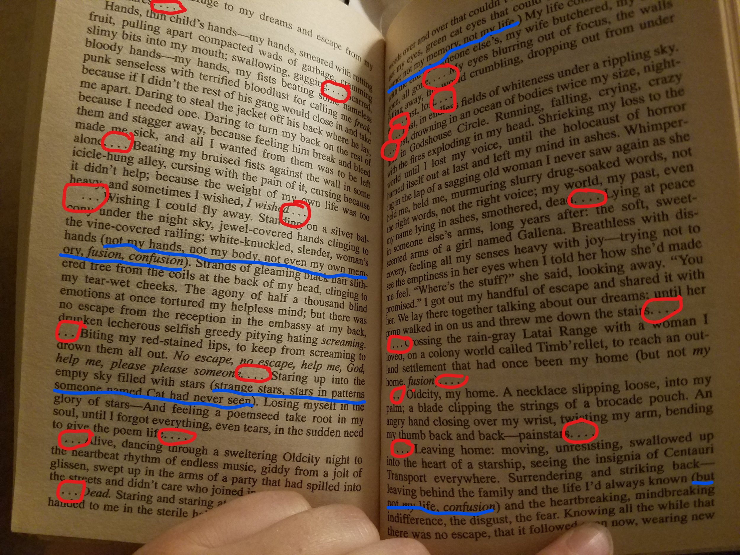 Every red circle is an ellipse, every blue underline is an aside in parentheses. At page 126 out of 266, this is what finally made me put the book down.