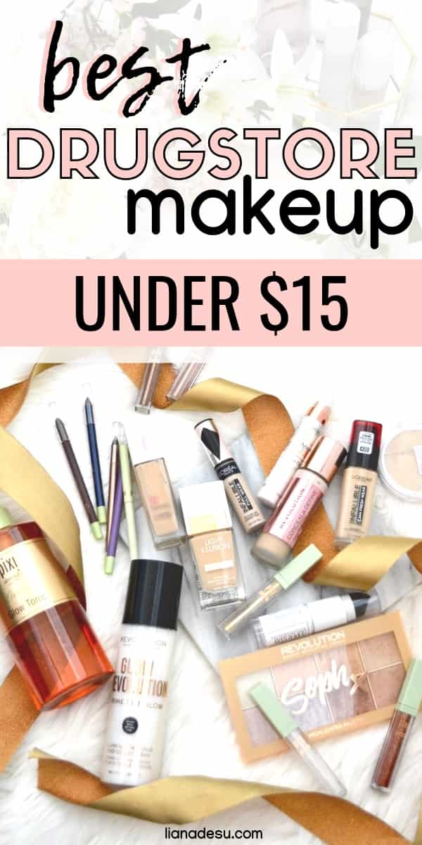 There are SO many amazing drugstore makeup products! Check out the best drugstore makeup you can get for under $15! Budget friendly and amazing quality. #drugstore #makeup #budget #lianadesu #under15