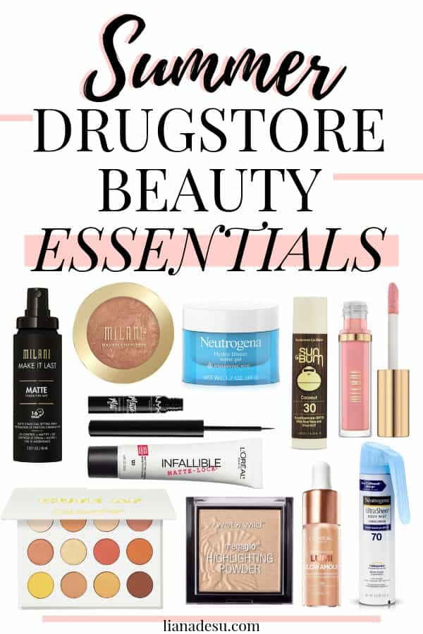 Create your perfect summer look with these drugstore beauty summer essentials! All of the must have drugstore makeup you need this summer to create a bronzed, glowy, playful look that's perfect for summer! Plus tips on how to sweat-proof your makeup for the hot summer! #drugstore #makeup #skincare #beauty #summer #lianadesu