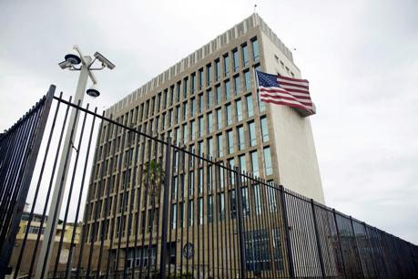 PHOTO:An exterior view of the U.S. Embassy is seen in Havana, Cuba, June 19, 2017.Alexandre Meneghini / Reuters file