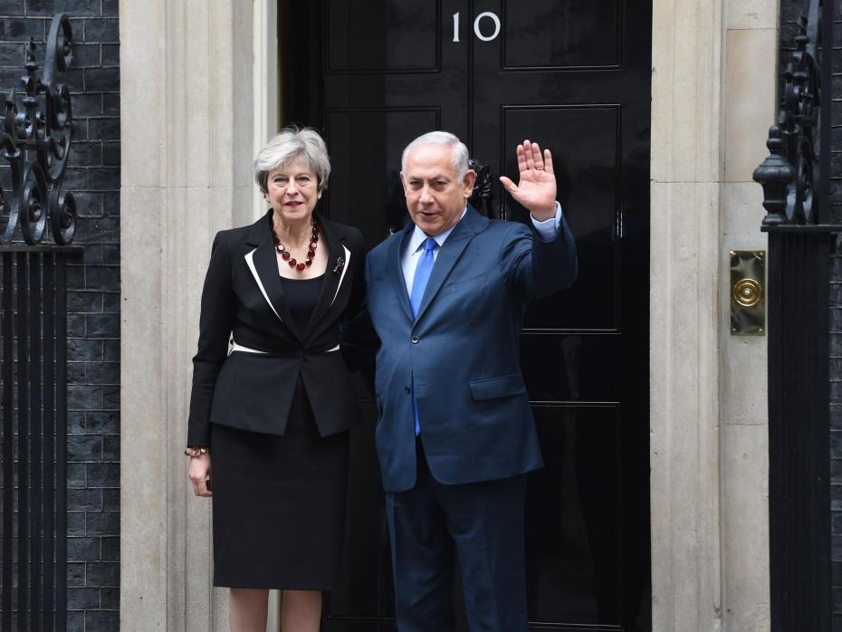 Photo:Israeli Prime Minister Benjamin Netanyahu meets with British Prime Minister Theresa May at 10 Downing Street.  Photo Courtesy: PA Images
