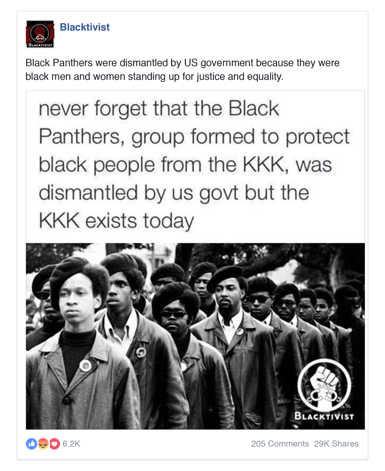 An endorsement of the Black Panthers as fighters against the KKK
