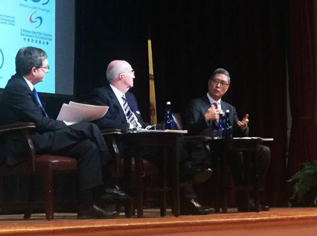 Jeffrey Lehman (left), Clark T. Randt (center), He Yafei (right)   Source: Jamin Chen